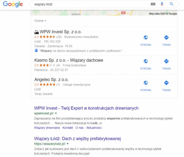 Widoczność w Google na zapytanie lokalne