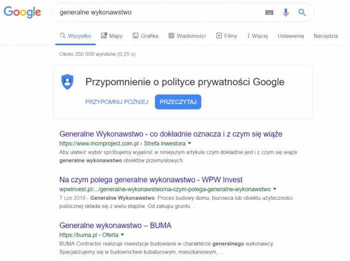 Domena klienta w wyszukiwarce Google