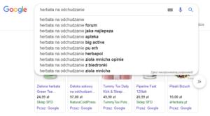 sugestie zapytań w google