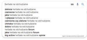 sugestie zapytań Google